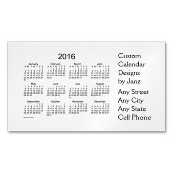 2016 Sea Shell Business Calendar by Janz Magnet Magnetic Business Cards (Pack Of 25)