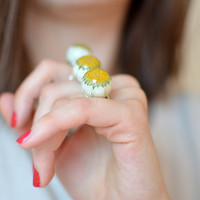 Ball Sphere Ring white and yellow daisy Resin Bubble Ring flower ring eco resin