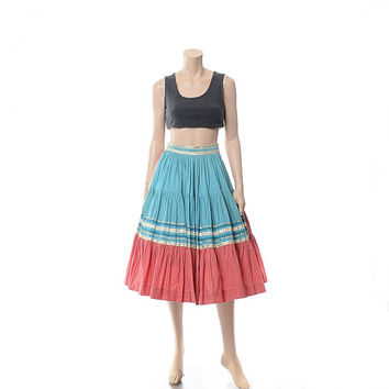 Vintage 50s 60s Southwestern Rockabilly Full Circle Skirt 1950s 1960s Turqoise and Pink + Silver Metallic Indian Western Square Dance / S