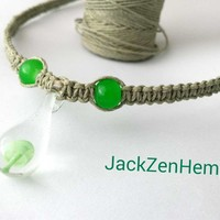 Mushroom Hemp Necklace - Green Mint - Glass Pendant Necklace