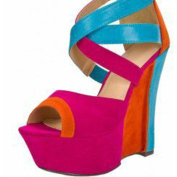 PINK CRISSCROSS STRAP COLORBLOCK WEDGE @ KiwiLook fashion