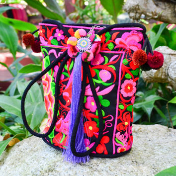 Bright Fluorescent Pink Embroidered Hmong Bag with Pom Poms / Crossbody Bag /Tribal Bag / Unique Thai Bag / Medium Sized Bag / Hilltribe Bag