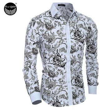 Male Dress Shirts Dress Shirts Mens Shirt Slim Fit Men Shirt Ethnic Flowers Heren Hemden Camisa Masculina XXL