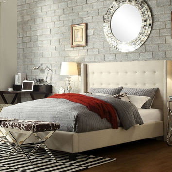 Queen size Beige Upholstered Bed with Button Tufted Wingback Headboard