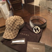 100% Authentic Gucci Baseball Hat & Matching Gucci Belt Olive Green XL & 38