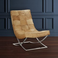 James Nickel & Leather Chair, Hair on Hide
