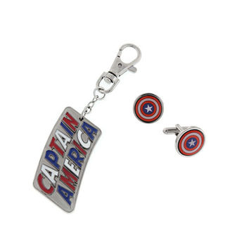 Captain America Keychain And Cufflinks Gift Set
