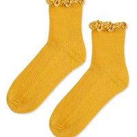 Mustard Velvet Trim Ankle Socks - New In This Week - New In