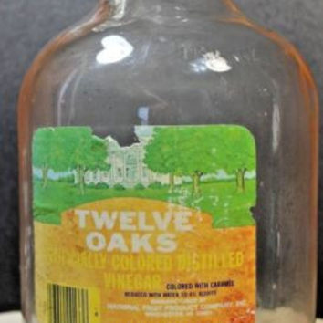 Vintage One Gallon Glass Jug, Vintage twelve oaks Vinegar with lid