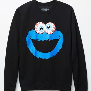 Mishka - Sesame Street Cookie Monster Crew Neck Sweatshirt - Mens Hoodie - Black