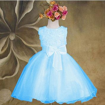 Candy Color Cute Kids Girls Princess Dress Girls Flower Bow Wedding Party Pageant Tulle Dresses Elegant Style