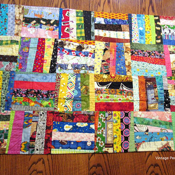Vintage Crazy Quilt, Baby Blanket, Patchwork Quilt, Throw, Picnic Blanket