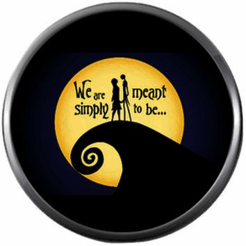 We Are Simply Meant To Be Nightmare Before Christmas Jack Skellington & Sally Stitches 18MM - 20MM Charm for Snap Jewelry New Item