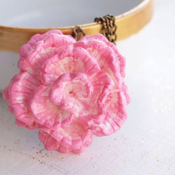 Carnation Flower Necklace White and Pink Polymer Clay Pendant Necklace