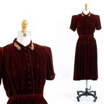 vintage 1930s dress / 30s dress / Cinnamon Brown Silk Velvet Beaded Dress