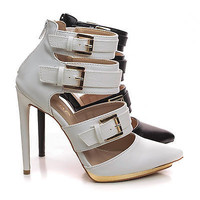 Danielle3 Pointy Toe Strappy Buckle Metallic Platform Stiletto Heel Pumps