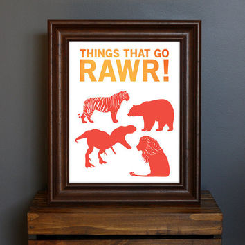 Fun Kid's Room Animal Art Print  Things That Go by CisforColor