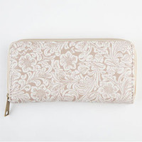 Floral Embossed Zip Wallet
