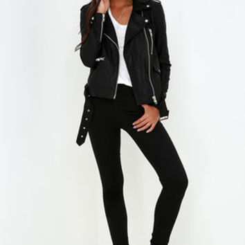 Live It Up Black Vegan Leather Jacket