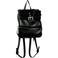 90's Black Leather Mini Backpack