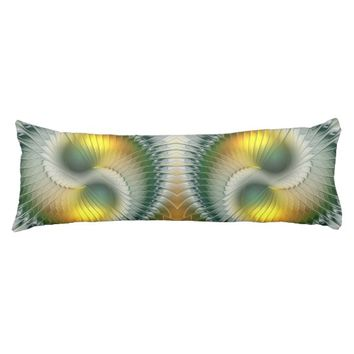 Yin Yang Green Yellow Abstract Colorful Fractal Body Pillow