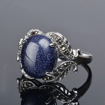 Vintage Style Natural Blue Sandstone Oval Inlaid Silver Ring