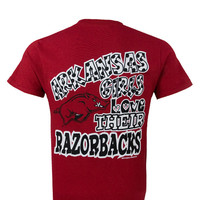 New Arkansas Razorbacks Girls Love Girlie Bright T Shirt