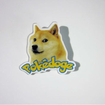 doge dog pokedoge Japanese pet shiba pin brooches for women men girls boys acrylic weird quirky accessories s SM6