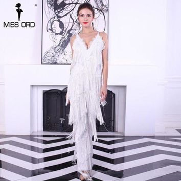 Free Shipping  2017 Sexy Sleeveless V Neck  Halter Lace Tassel Jumpsuits Ft4661