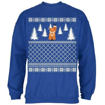 MDIGCY8 Fox Ugly Christmas Sweater Royal Adult Sweatshirt