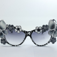 Women's Cute Lovely Summer Style Hot Fashion Fimo Flower Sunglasses = 4672314756