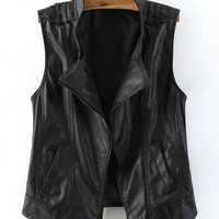 Black Sleeveless Leather Gilet with Stand Collar
