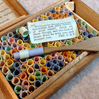Old Wood Box of Scrolls of Inspiration - The Jeweled Box - The Inspired Box - Bible Verses on Colored Scrolls