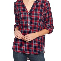 Gap Women Factory Plaid Popover Top