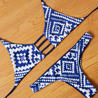 Blue Aztec Swimsuit Bikini Set Two Pieces