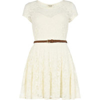 cream lace belted skater dress