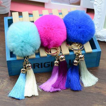 New Arrival 2016 Cute Rabbit Fur Ball Key Chain Keychain llaveros mujer Fluffy Fur Pom Pom Keychain Tassel Car Bag Key Ring Z1