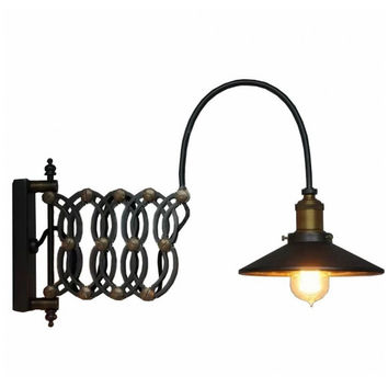 Scalable countryside vintage industrial edison wall lamp light wall sconce with inner glass shade