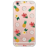 Pretty Pink Pineapple & Coconut Soft Silicon Phone Cover Clear Thin Case For Apple iPhone 6 6Plus