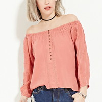 Buttoned Off-the-Shoulder Top | Forever 21 - 2000168403