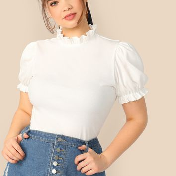 Plus Frilled Neck Puff Sleeve Rib-knit T-shirt