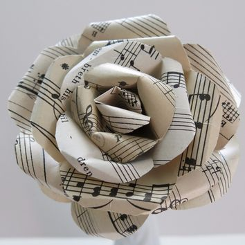 "vintage sheet music paper rose sculpted flower black and aged white/ivory large 4"" single bloom music theme party band teacher gift idea"
