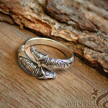 Viking Replica  RING Dragon Head  Silver  Large by Albae on Etsy