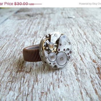 SALE FREE SHIPPING  Steampunk Ring. Clockwork ring, copper unisex wire wrap ring. Gift for him. Slava Ussr Watch, recycled steampunk jewelry