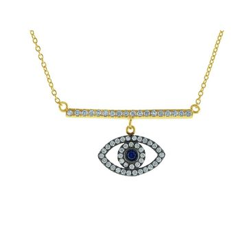 Spiritual CZ Bar & Eye Gold Plated Sterling SIlver Necklace, 16""