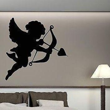 Wall Stickers Vinyl Decal Cute Little Cupid Bow and Arrow in the Heart Unique Gift (n079)
