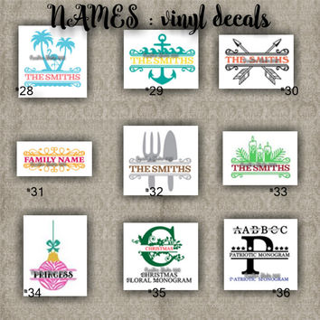 FAMILY NAMES vinyl decals | last name | initial | decal | sticker | car decals | car stickers | laptop sticker - 28-36
