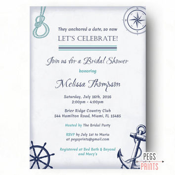 Nautical Bridal Shower Invite Printable Theme Invitation Anchor