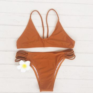 Fashion brown bottom polyline two piece bikini