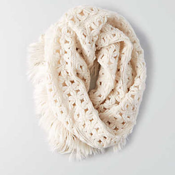 AEO Fringe Trim Snood , Cream
